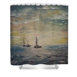 3 Little Boats Shower Curtain