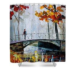 Little Bridge Shower Curtain by Leonid Afremov