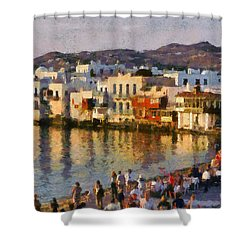 Little Venice In Mykonos Island Shower Curtain