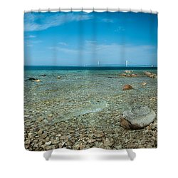 Shower Curtain featuring the photograph Mackinac Bridge by Larry Carr