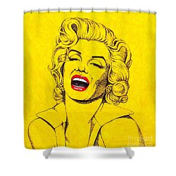 Shower Curtain featuring the drawing Marilyn In Yellow by Joseph Sonday