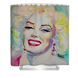 Shower Curtain featuring the painting Marilyn by Laur Iduc