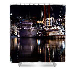 Marseille France Panorama At Night Shower Curtain by Michal Bednarek