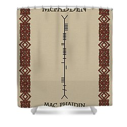 Mcfadden Written In Ogham Shower Curtain