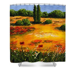 Mediterranean Landscape Shower Curtain by Edit Voros