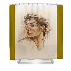 Michael Life Unfinished Shower Curtain