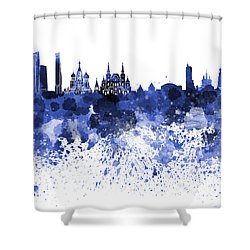 Moscow Skyline White Background Shower Curtain by Pablo Romero