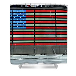 Neon American Flag Shower Curtain by Allen Beatty