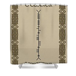 Shower Curtain featuring the digital art O'connor Written In Ogham by Ireland Calling