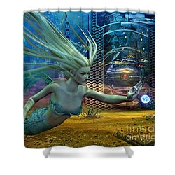 Shower Curtain featuring the digital art Of Myths And Legends by Shadowlea Is