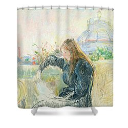 On The Balcony Shower Curtain by Berthe Morisot