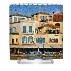 Painting Of The Old Port Of Chania Shower Curtain