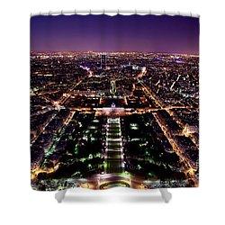 Paris Panorama France At Night Shower Curtain by Michal Bednarek