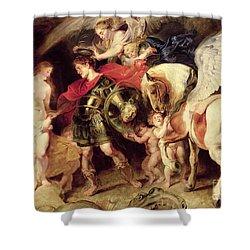 Perseus Liberating Andromeda Shower Curtain by Peter Paul Rubens