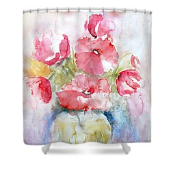 Shower Curtain featuring the painting Poppies by Jasna Dragun