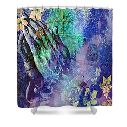 Praying Hands Flowers And Cross Shower Curtain