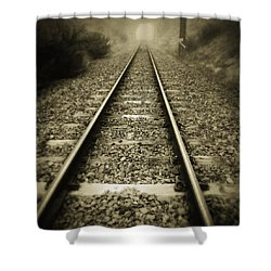 Railway Tracks Shower Curtain by Les Cunliffe