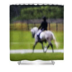 Shower Curtain featuring the photograph Rainy Day Dressage by Joan Davis