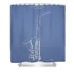 Saxophone Patent Drawing From 1937 - Light Blue Shower Curtain by Aged Pixel
