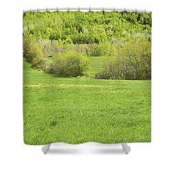 Spring Farm Landscape In Maine Shower Curtain by Keith Webber Jr