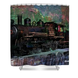 Steam Locomotive Shower Curtain by Gunter Nezhoda