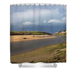 Shower Curtain featuring the photograph Storm Approaches The Gannel Estuary Newquay Cornwall by Nicholas Burningham