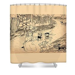 Shower Curtain featuring the drawing Tammy  Meets Cedric The Mongoose by Reynold Jay