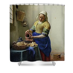 Shower Curtain featuring the painting The Milkmaid  by Johannes Vermeer