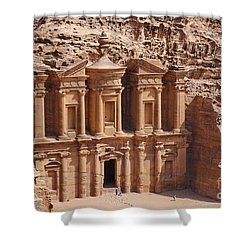 The Monastery At Petra In Jordan Shower Curtain by Robert Preston