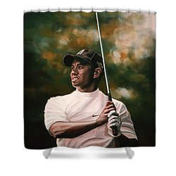 Tiger Woods  Shower Curtain by Paul Meijering