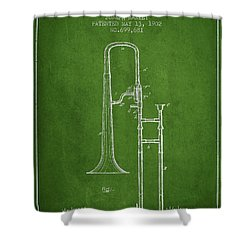 Trombone Patent From 1902 - Green Shower Curtain by Aged Pixel
