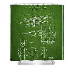Trumpet Patent From 1939 - Green Shower Curtain by Aged Pixel