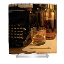 Typewriter And Whiskey Shower Curtain by Jill Battaglia
