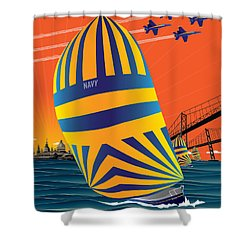 Usna Sunset Sail Shower Curtain