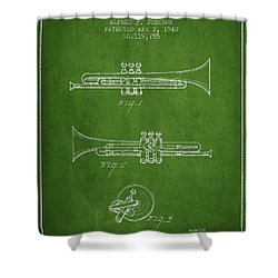 Vintage Trumpet Patent From 1940 - Green Shower Curtain by Aged Pixel