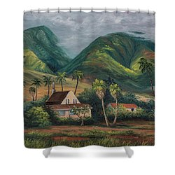 Shower Curtain featuring the painting West Maui Mountains by Darice Machel McGuire