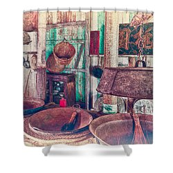 Shower Curtain featuring the photograph 3-wok Kitchen by Jim Thompson