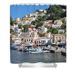 Yialos Harbour Symi Shower Curtain