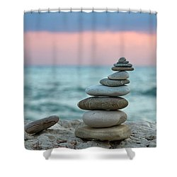 Zen Shower Curtain by Stelios Kleanthous