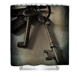 3619_vintage Keys Bw W Blue Vingette Shower Curtain by Lesa Fine