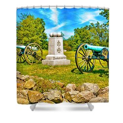 3rd Massachusetts Battery Gettysburg National Military Park Shower Curtain by Bob and Nadine Johnston