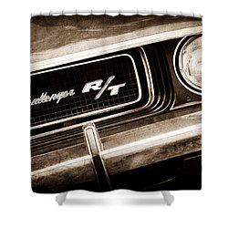 1970 Dodge Challenger Rt Convertible Grille Emblem Shower Curtain by Jill Reger