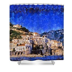 Amalfi Town In Italy Shower Curtain by George Atsametakis