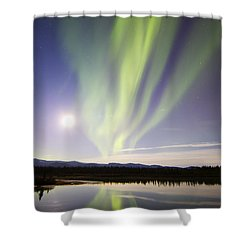 Aurora Borealis And Full Moon Shower Curtain by Joseph Bradley