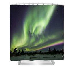 Aurora Borealis Over A Ranch Shower Curtain by Joseph Bradley