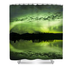 Aurora Borealis Over Fish Lake Shower Curtain by Joseph Bradley