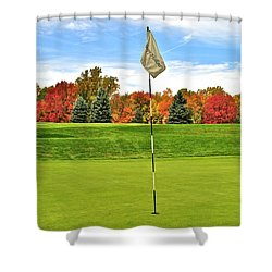 Autumn Golf Shower Curtain by Frozen in Time Fine Art Photography