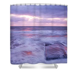 Ballyconnigar Strand At Dawn Shower Curtain by Ian Middleton