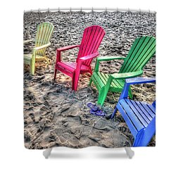 4 Beach Chairs Shower Curtain by Michael Thomas