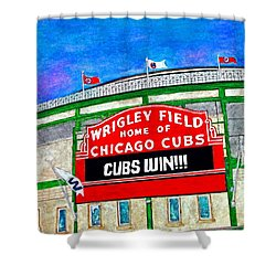 Blue Skies Over Wrigley Shower Curtain by Janet Immordino